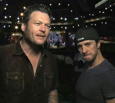 Luke Bryan and Blake Shelton.. Luke's face..o.m.g.