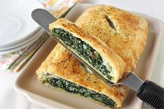 spinach in puff pastry. I made this the other night and my husband and I loved it. We ate the whole thing. The girls were not as impressed because they are not fans of anything green. I will make this again.