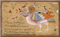 cantique des oiseaux pelican Ancient Persian, Ancient Art, Medieval Manuscript, Illuminated Manuscript, Teheran, Iranian Art, Flower Bird, Islamic Art Calligraphy, Book Of Hours