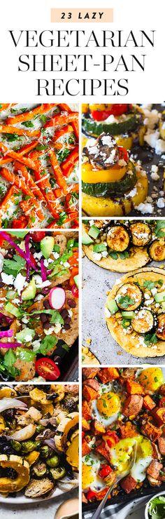 Life Hacks : Illustration Description 23 Easy Vegetarian Sheet-Pan Recipes for When You're Feeling Lazy. Vegetarian Recipes Dinner, Veg Recipes, Healthy Dinner Recipes, Breakfast Recipes, Cooking Recipes, Vegetarian Lunch, Eat Breakfast, Vegetarian Sandwiches, Going Vegetarian