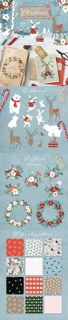 Christmas is coming! With this big Merry Christmas graphic set and its cute bears, bunnies, deers, winter flowers and other cliparts and patterns you can create Merry Christmas, Christmas Is Coming, Christmas Cards, Christmas Decorations, Christmas Graphics, Christmas Paper, Winter Christmas, Handmade Christmas, Christmas Time