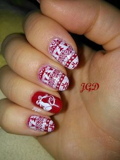Świąteczne paznokci stamping nail art born pretty JGD