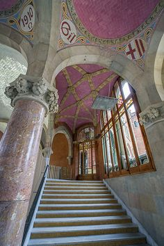Alternate Staircase in Hospital Sant Pau, Barcelona, Catalonia Beautiful Architecture, Beautiful Buildings, Begur Costa Brava, Art Nouveau, Abandoned Train Station, Temple Ruins, Miro, Stoff Design, San Pablo