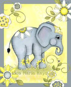 Elephant Wall Art, Yellow and Grey Elephant Theme Decor Girls Room Baby Nursery Yellow and Gray Flowers Bathroom Wall Art Bright Whimsical