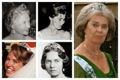 The Swedish Aquamarine Kokoshnik Tiara  (clockwise from top left): Princess Sibylla of Sweden; Princess Margaretha, Mrs. Ambler; Princess Margaretha, Mrs. Ambler, Princess Sibylla of Sweden; Baroness Sibylla von Dincklage  Often feared sold or broken up, it was seen recently on the head of Princess Margaretha, eldest sister of King Carl XVI Gustaf of Sweden, at the wedding of her niece, Victoria, in 2010.