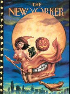 Attractive witch flies across sky, holding a jack-o-lantern, creating a skull pattern with the moon. - The New Yorker: Nov 06, 2000 -  Owen Smith
