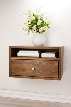 Floating Nightstand with Drawer and Open Shelf / Walnut Wood Hanging Bedside Table / Scandinavian / Mid-century / Modern / Minimalist - Floating Shelves Bedroom, Floating Nightstand, Floating Shelf With Drawer, Shelf Nightstand, Nightstand Ideas, Nightstands, Bedside Table Ideas Diy, Drawer Shelves, Open Shelving