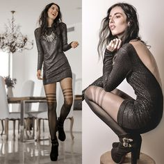Get this look: http://lb.nu/look/5800455  More looks by Elle-May Leckenby: http://lb.nu/ellemay  Items in this look:  Shattered Glass Low Back Dress, Tabbi Socks Secret Lines Sheer Tights