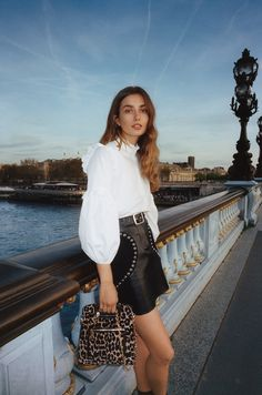 Andreea Diaconu poses in Paris for Maje's fall-winter 2017 campaign