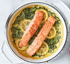Creamy Spinach, Spinach And Cheese, Bbc Good Food Recipes, Cooking Recipes, Healthy Recipes, Savoury Recipes, Yummy Food, Salmon Recipes, Seafood Recipes