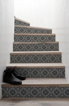 Upgrade your stairs with our glue less stickers Classic tile Tile Stairs, Wood Stairs, Basement Stairs, House Stairs, Paint Stairs, Stair Renovation, Stair Stickers, Building Stairs, Black And White Tiles