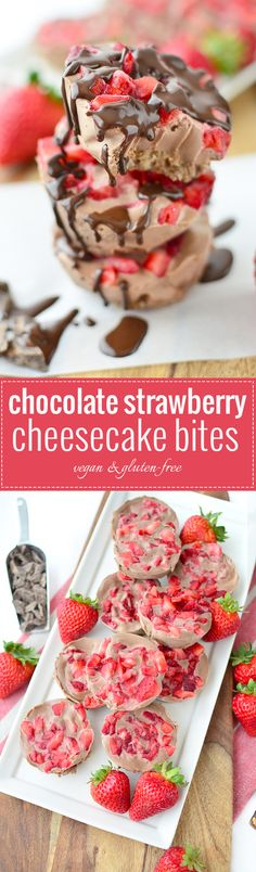 Chocolate Strawberry Cheesecake Bites! These single serving no-bake cheesecake bites are perfect for summer! GlutenFree and Vegan and so easy! | www.delishknowledge.com