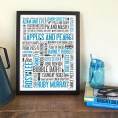 Cockney Rhyming Slang Print