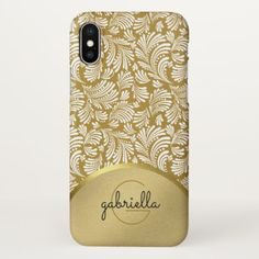 Ladies Monogram Modern Faux Gold Floral Abstract iPhone X Case - classy gifts vintage diy ideas