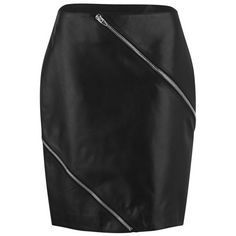 Alexander Wang Women's Diagonal Zip Detail Pencil Skirt - Nocturnal ($1,405) ❤ liked on Polyvore featuring skirts, black, black knee length pencil skirt, reversible skirt, alexander wang, black skirt and mid thigh skirt