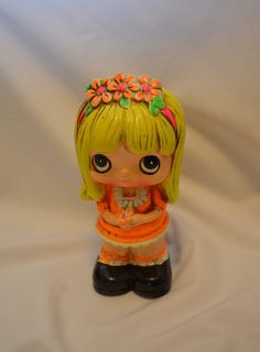 Vintage chalkware piggy bank, cute blond girl. Made by BP Products Japan