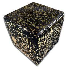 Metallic Cowhide Ottoman Gold Metallic on Black Cow hide Cube Furniture Cowhide Furniture, Cowhide Ottoman, Cube Furniture, Ottoman Footstool, Cowhide Leather, Cow Hide Rug, Grey Rugs, Black Cow, Metallic