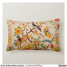 Birds & Butterflies Lumbar Pillow