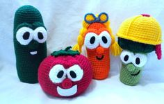 Crochet your favorite VeggieTales friends. Link to free patterns.
