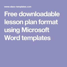 lesson plan for microsoft word