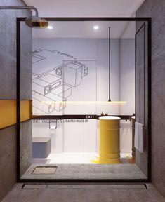 El espacio de la ducha está separado por una mampara con puerta corrediza.