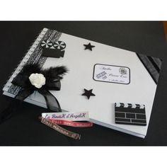Livre d'or sur le thème Cinéma en Blanc et Noir, réalisé sur mesure par www.laboutikdangelik.com