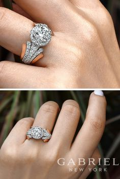 14k White/Rose Gold Round Contemporary Halo Diamond Engagement Ring  #Engagementring #Engagementrings #Weddingring #GabrielNY #GabrielandCo #Diamonds #Love #Halo #Haloengagementrings