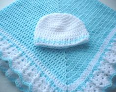 Baby Blanket with a Hat to Match Unisex Girl or Boy Turquoise