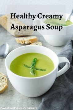 Silky smooth, this simple and healthy recipe for Creamy Asparagus Soup requires only basic ingredients and very little effort or time to make! Creamy Asparagus, Asparagus Soup, Supper Recipes, Soup Recipes, Healthy Recipes, Mediterranean Diet Recipes, Effort, Food And Drink, Smooth