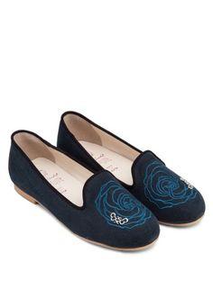 SPUR Rose Embroidered Loafers 玫瑰平底船鞋