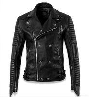 Neue 2015 Winter Qualität Marke Designer Schädel Slim Fit Lederjacke Männer Mode Motorrad Biker Jacken und Mäntel, plus Größe
