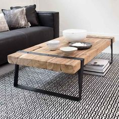 Table basse teck et métal recyclés CELEBES 140cm rectangulaire