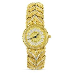 Pre-owned Buccellati Gianmaria 18K Yellow & White Gold Leaf Pattern... ($34,995) ❤ liked on Polyvore featuring jewelry, watches, leaves jewelry, pre owned watches, white gold watches, buccellati jewelry and 18 karat gold watches