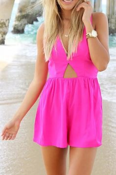 fabulous-cutout-strappy-hot-pink-rompers also in red black and blue