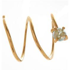 Melissa Joy Manning Gold Blue Topaz Spiral Hug Hoop Earrings ($205) ❤ liked on Polyvore featuring jewelry, earrings, hoop earrings, blue topaz jewelry, yellow gold earrings, spiral earrings and round earrings