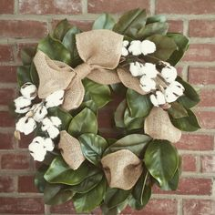 "How much more perfect can one wreath be? Magnolia, Cotton, and Burlap...oh my! This wreath is approx 20"" Limited Edition."