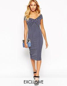 Enlarge Love Off Shoulder Wrap Midi Dress In Stripe