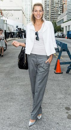 Grey wide leg pants, silver shoes, white top and jacket - could do also with pale pink jacket