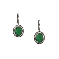 Hillary Earrings - Emeralds, Diamonds, Sterling Silver - Meredith Marks Designs