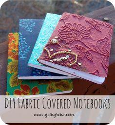 Vire tecido bonito na tampa para um belo notebook para manter para si ou para dar de presente.  Uma ótima maneira de roupas upcycle que você não pode usar.