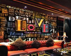 Tips That Help You Get The Best Leather Sofa Deal. A leather couch is the ideal way to improve a space's design and th Coffee Shop Design, Cafe Design, Bar Lounge, Nightclub Design, 3d Wall Murals, Best Leather Sofa, Shop Interiors, Custom Wall, Restaurant Design