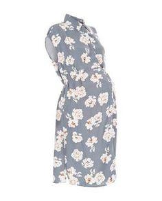 Maternity Grey Floral Print Shirt Dress   New Look