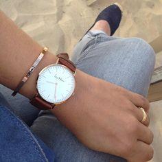 Style classique et féminin : montre Leny Harper - Swan Original. Jeans grisé ♥