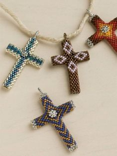 Cross Pendant for Easter Jewelry or Bookmarks for a Bible. Sweet Easter gift--or anytime gift! Beadwork Pattern Download