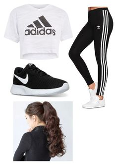 """Workout Outfit"" by lrobison-1 ❤ liked on Polyvore featuring Topshop, adidas Originals and NIKE"