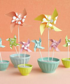 Pinwheel centerpieces--more simple than the other ones.