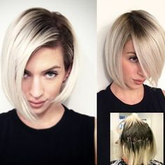 """* Formulas & SBS for this gorgeous high contrast bob by Tracy Vasquez is now LIVE on behindthechair.com/ search """"Smoky Blonde"""" ;) Thanks to Tracy @scotchbonnethairstudio for sharing her mad skills with our BTC members ;) #btcpics"""