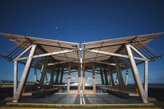 Deal Pier Cafe & Bar designed by Niall McLaughlin Architects has been shortlisted in the Structural category - Image - Timber Trades Journal Online Roof Architecture, Sustainable Architecture, Architecture Details, Bamboo Structure, Steel Structure, Shed Floor Plans, Timber Roof, Building A Deck, Roof Design