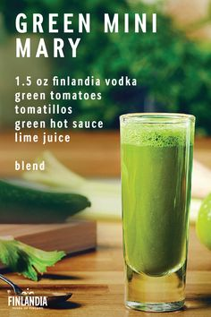 St. Patrick's Day is approaching, so it's time to think up some green cocktails to have while celebrating. Uncover a unique, flavorful taste, and make this recipe for a Green Mini Mary. Blend the listed ingredients and cheers to a year of luck and good fortune! Click here for more great recipes!