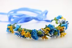 Ukrainian flower crown Wildflower crown bachelorette Blue white yellow flower…